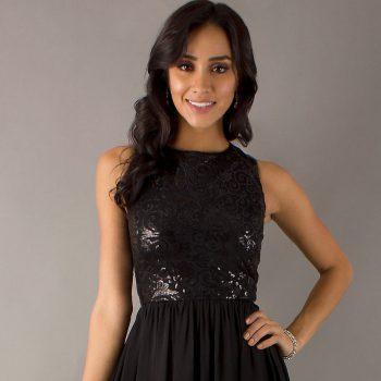 black-sparkly-short-dress-look-like-a-princess