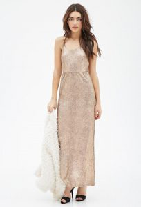 gold sparkly long dress