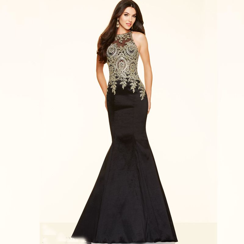 d76d160e11f black and gold long prom dresses - MyDressReview