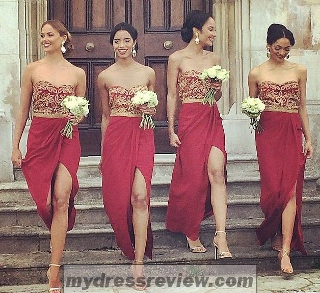 79555f37a6 Red And Gold Wedding Bridesmaid Dresses - Look Like A Princess 2017 ...