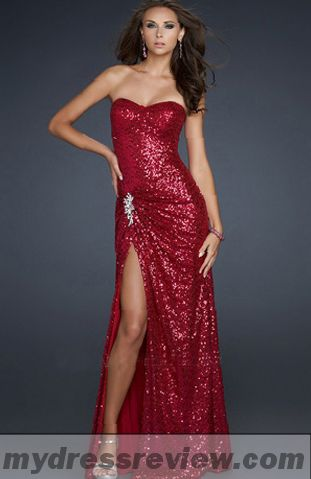 Long Red Sequin Dress with Slit