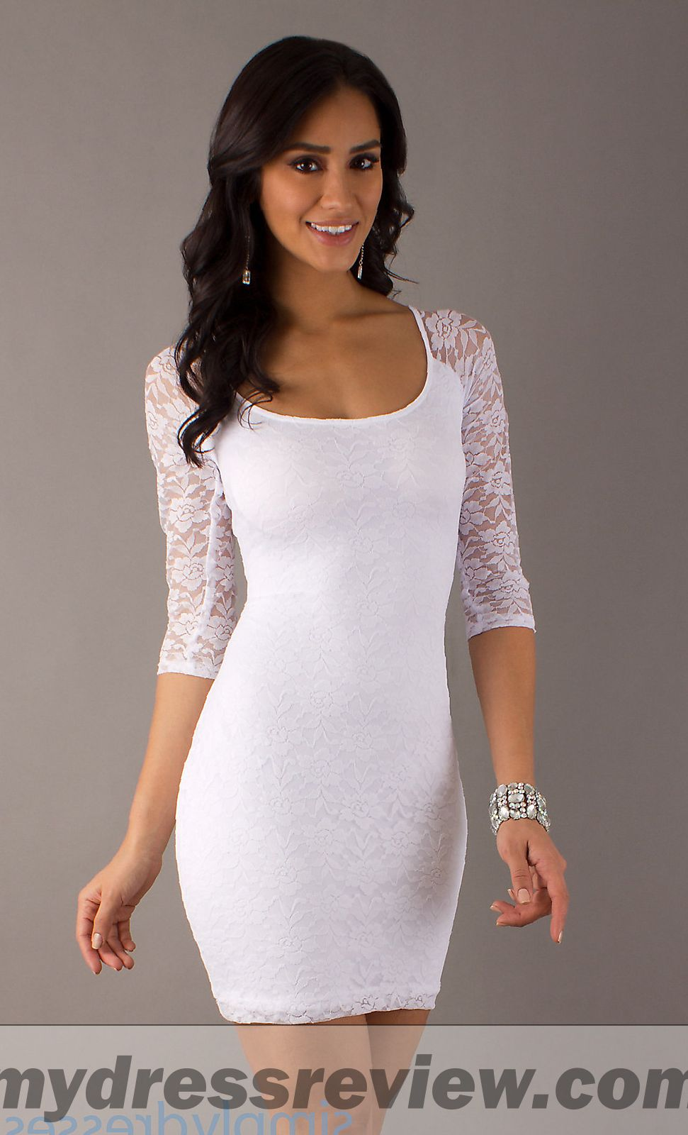 white lace short dress long sleeve the trend of the year
