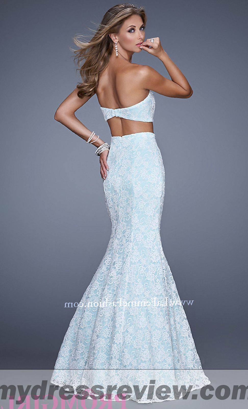 White Lace Two Piece Prom Dress - Different Occasions