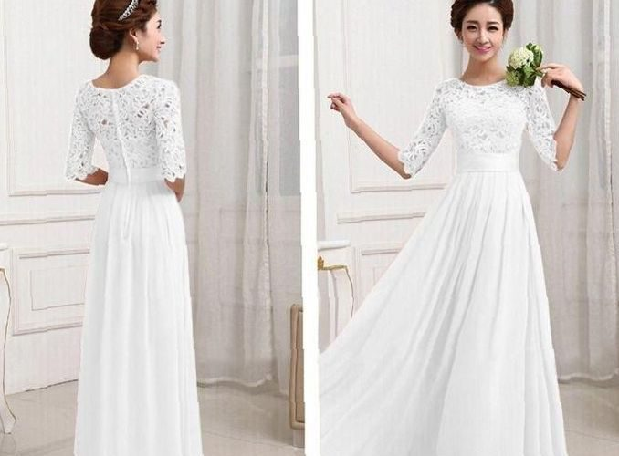 long-white-dress-with-lace-18-best-images